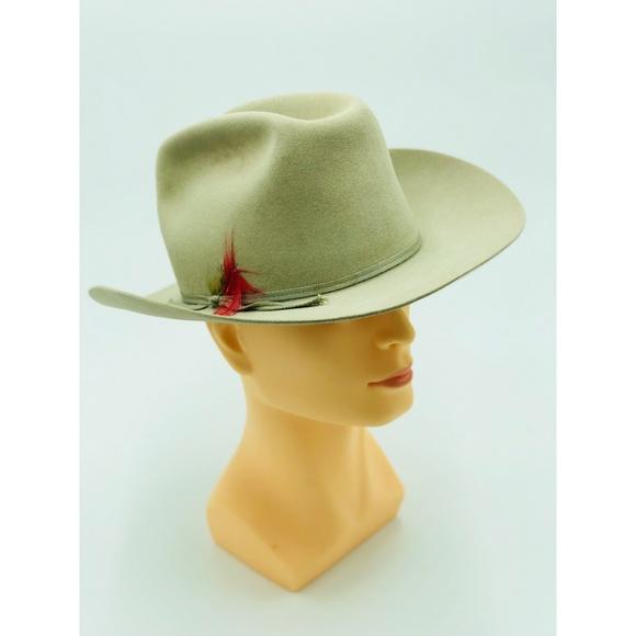 Tan Stetson Vintage Hat XXX Beaver Sz. 7 w Feather.  M 5acc399d46aa7c85af980051 2d01596b0028